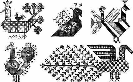 Ornithomorphic figurative motives in the Russian peasant embroidery.