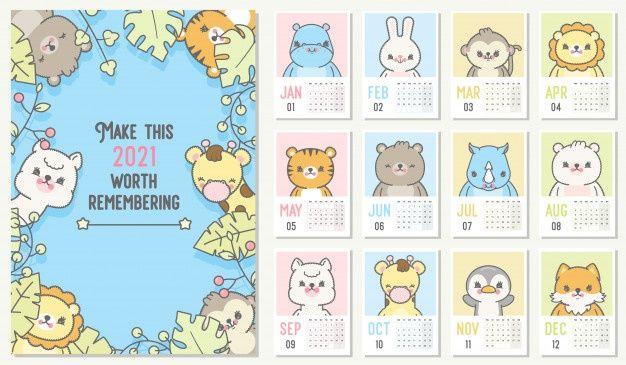 Cute 2021 Calendar Yearly Planner Calen Premium Vector Freepik Vector Calendar Cartoon Animal Wall Kids Calendar Cute Calendar Calendar Printables