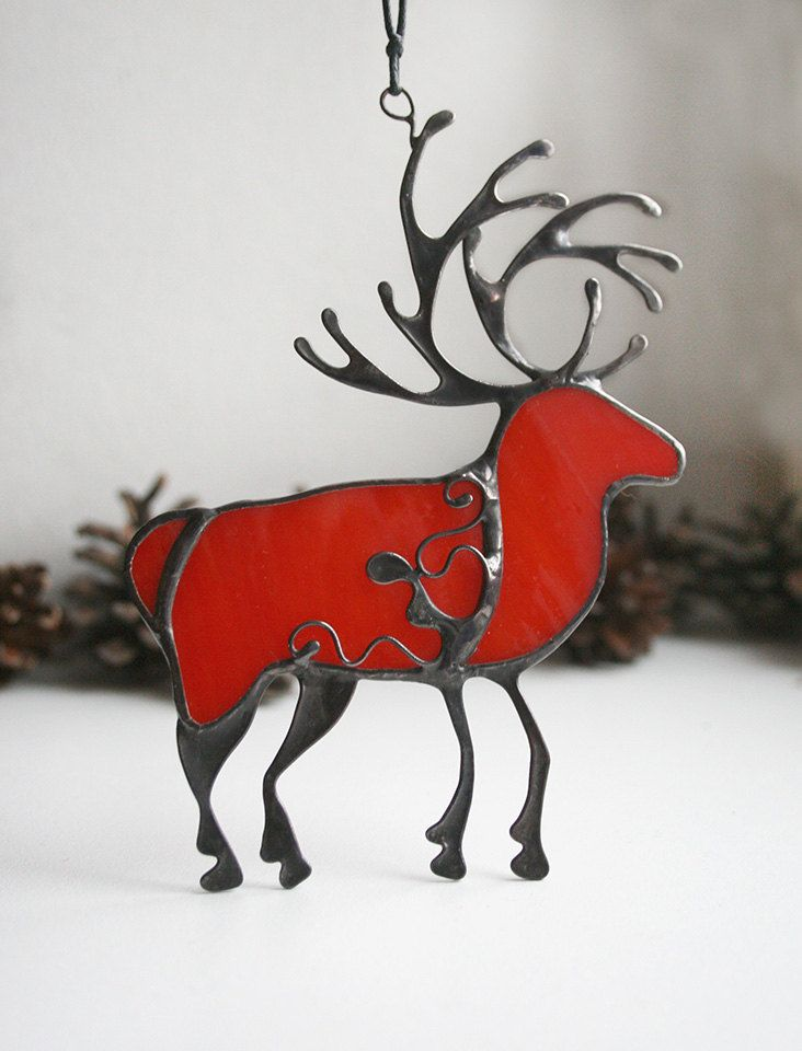 Christmas deer decoration, red winter deer, stained glass ornament, stained glass suncatchers by ArtKvarta on Etsy