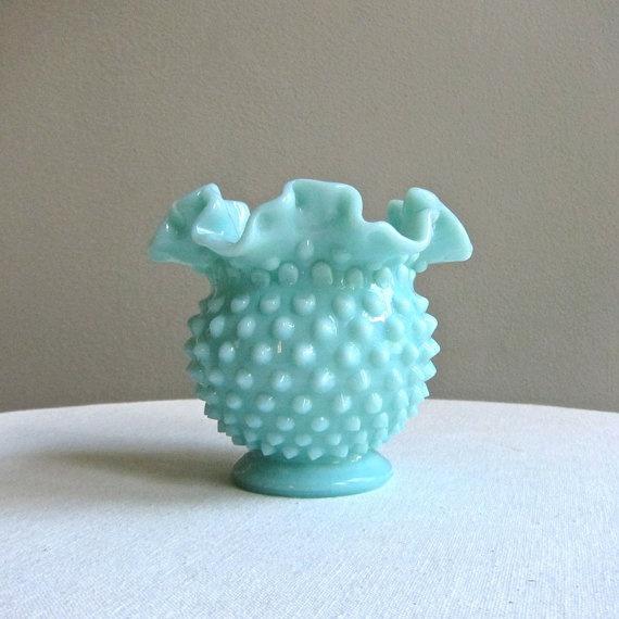 Fenton Turquoise Green Pastel Hobnail Milk by BarkingSandsVintage, $55.00