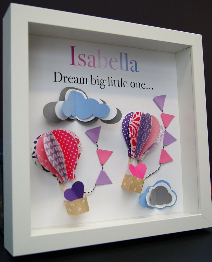 Personalized Name Paper Origami Shadowbox with Hot Air Balloons and Clouds Custom Newborn Baby Shower Gift by paintandpapercraft on Etsy