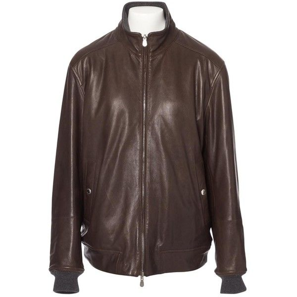Pre-owned Brunello Cucinelli Leather Jacket ($1,311) ❤ liked on Polyvore featuring men's fashion, men's clothing, men's outerwear, men's jackets, brown, men clothing jackets, mens real leather jackets, mens short sleeve jacket, mens brown leather jacket and mens zip jacket