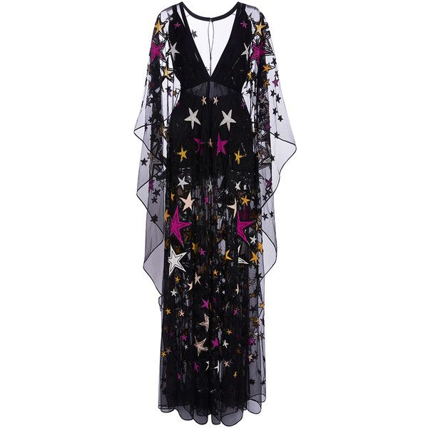 Elie Saab     Long Kaftan Dress With Embroidered Multicolor Stars ($14,300) found on Polyvore featuring women's fashion, dresses, elie saab, gowns, long dresses, black, caftan dress, kaftan dress, sleeved dresses and long kaftan dress