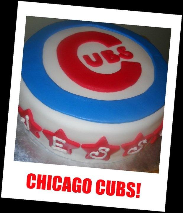 Chicago Cubs Cake. It Was A Tiramisu Cake!