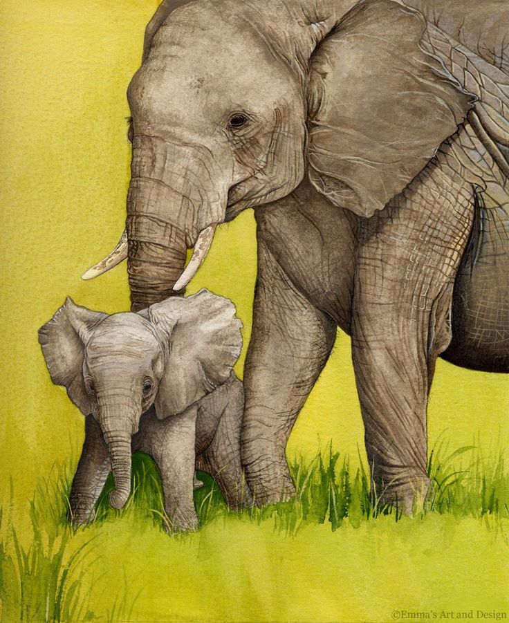 Mother and Baby Elephant Painting - mounted print of original watercolour and gouache painting by EmmasArtandDesign on Etsy https://www.etsy.com/listing/198293754/mother-and-baby-elephant-painting