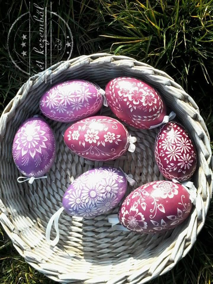 Karcolt húsvéti tojások Rózsaszín árnyalataiban