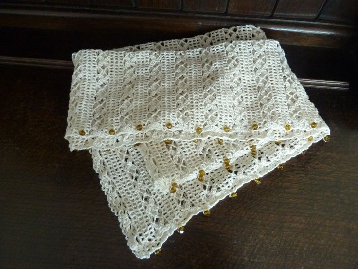 Cotton Lace Stole/Shrug With Amber Coloured Beads by Aimezvousclassique on Etsy