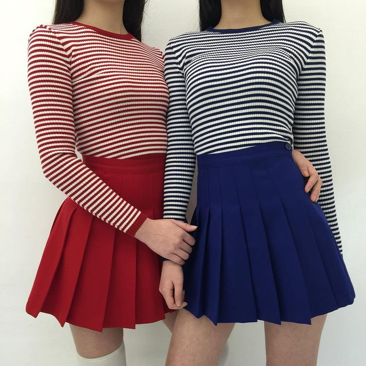 korean fashion casual street striped red blue navy tennis skirt tight shirt