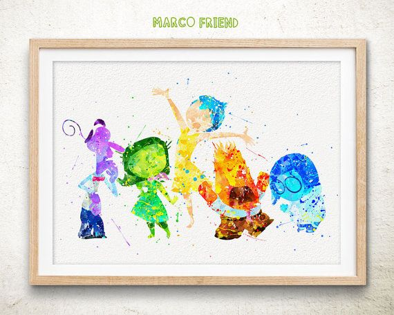 Inside Out Watercolor Art Print, Nursery Room Decor, Disney Wall Art, Cartoon Poster