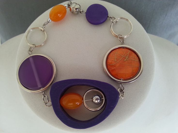 Bracelet asymétrique violet et orange - Bijou orange et violet - Bracelet moderne : Bracelet par bijouxlibellule
