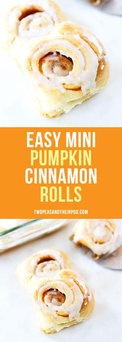 Easy Mini Pumpkin Cinnamon Rolls with Cream Cheese Frosting-delicious cinnamon rolls that take less than 30 minutes to make! A fall breakfast favorite!