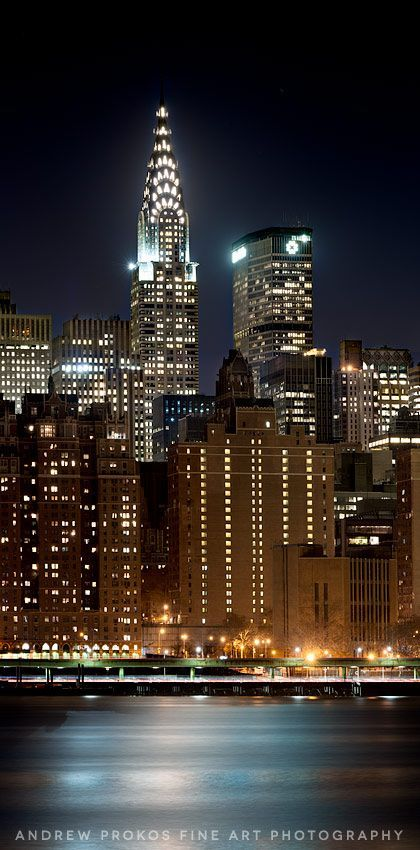 Panoramic View of Midtown and the Chrysler Building at Night - New York City…