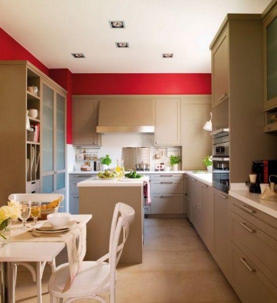Desain Dapur modern Dengan Dinding Merah
