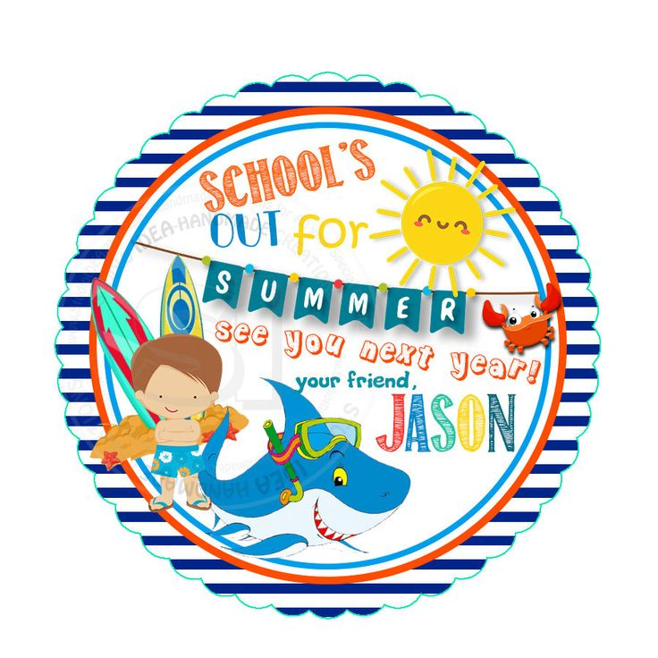 """Custom Summer Holidays Printable Tags- 2.5"""" Summer Tags- Personalized Stripped Scallop Circle 2.5"""" Tags-Digital file-YOU PRINT by StudioIdea on Etsy"""