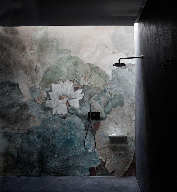 Tapete im Bad wirkt wie echte Wandmalerei