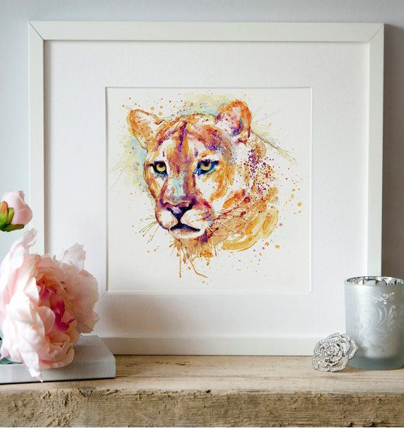 Cougar Watercolor Portrait Mountain Lion Wall Art Wildlife