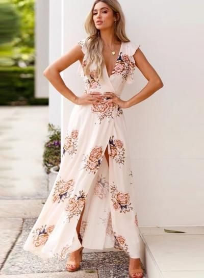 68fc35f9eb65 Fashion Flounced Floral Printed Sleeveless V Neck Slit Maxi Dress –  risechic.com
