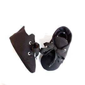 Black Beauty, zwart babyschoentjes handgemaakt - Studio LL - babyshoe handmade