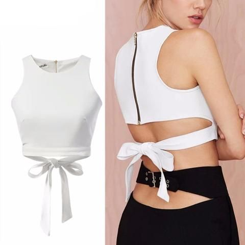 Hollow Out Back Bow Crop Top