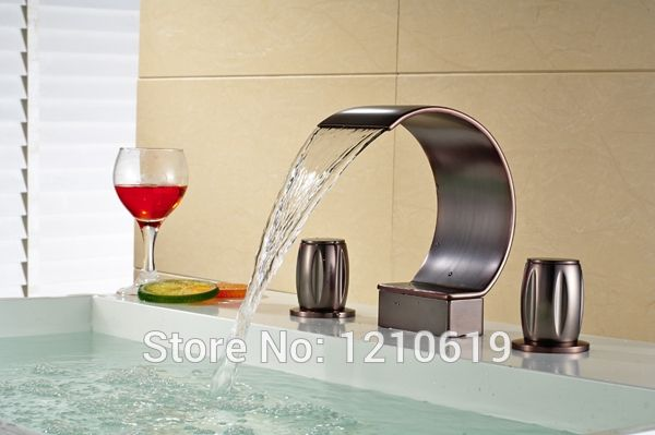 77.40$  Watch here - http://alidbk.worldwells.pw/go.php?t=1902015678 - Newly US Free Shipping Wholesale And Retail Vintage Oil Rubbed Bronze Red 3pc Bathroom Deck Tub Faucet Shower faucet Three Holes