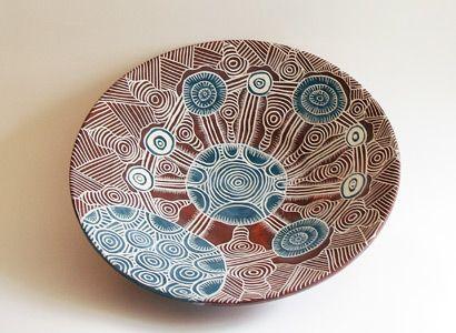 Ernabella Artists –  Carol Williams – Kapi Tjukula: Ceramics Plates, Clay, Ernabella Artists, Australian Ceramics, Ceramics Sgraffito, Pottery, Ceramics Wheel, Artists Carol