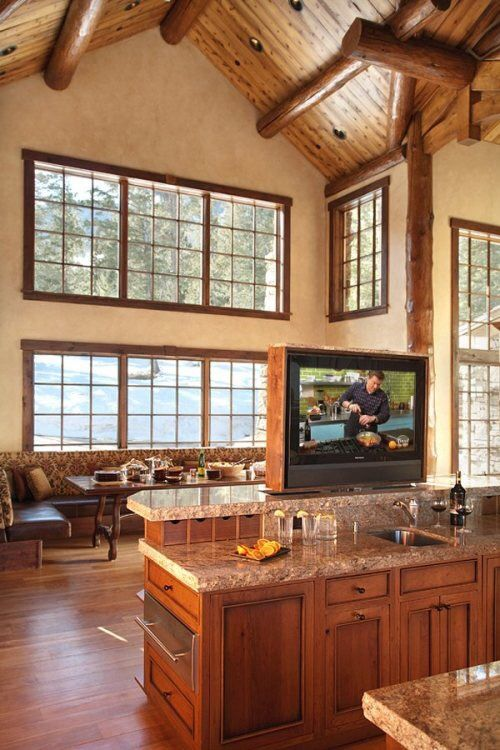 Great idea for open floor plan when you don't know where to put your tv.