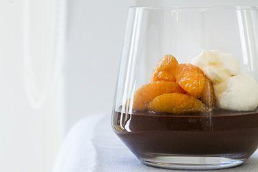 Bitter chocolate creme with caramelised oranges