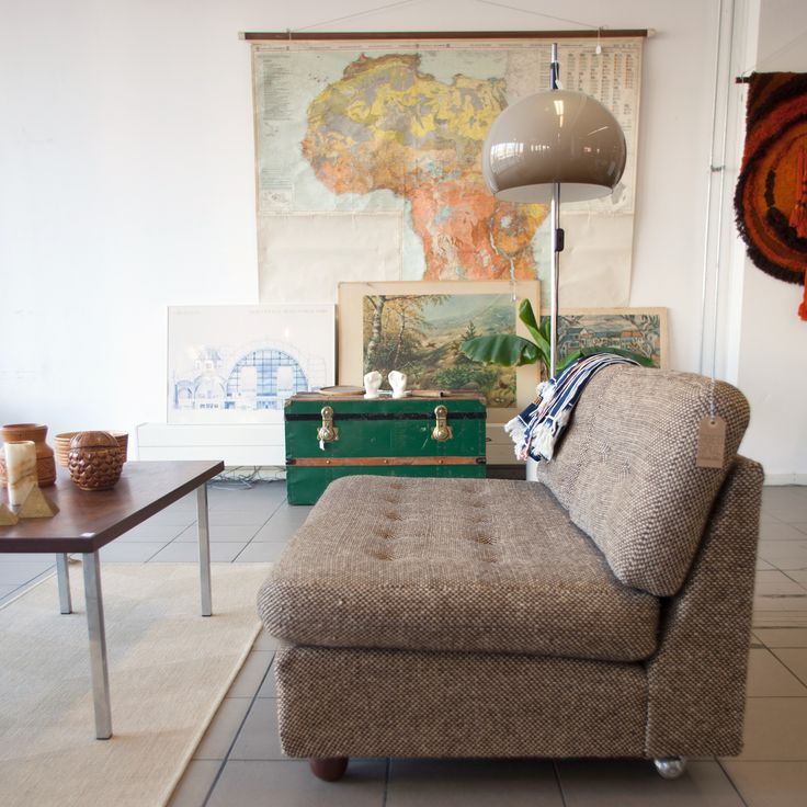 Artifort couch, 70's lamp, vintage map of Africa