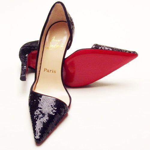 Boutique Christian Louboutin Sequins Dark Purple Pumps   Christian Louboutin Sandals Shoes For Women