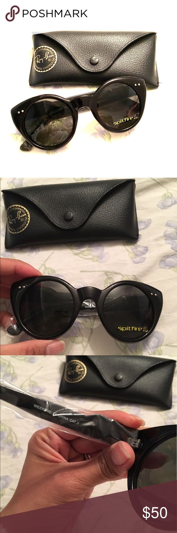 Brand new Spitfire sunglasses with RayBan Case Brand new black cat eye style sunglasses by brand Spitfire.  Seen in Nordstrom, Asos and Urban Outfitters. Style is called Weekend.  Lenses are round. Last pic of a stock photo is another Spitfire style that looks similar to these. Will come with RayBan case. Sunglasses are Spitfire brand, not RayBan. Ray-Ban Accessories Sunglasses