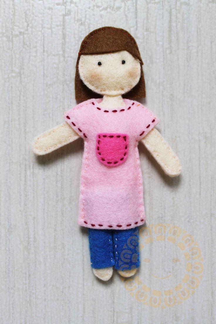 girl felt doll. height 15 cm http://miki-craft.blogspot.com/