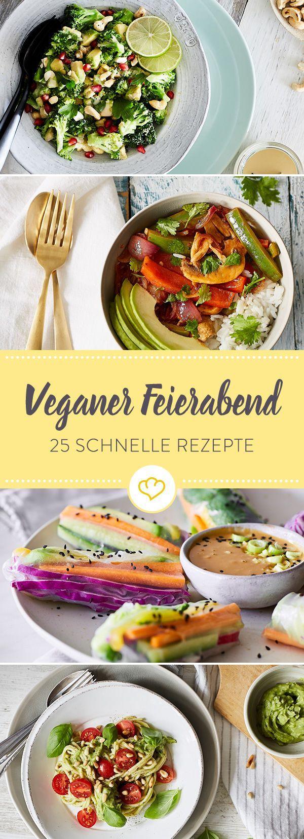 Vegane Ernährung kann so einfach sein! Lass dich inspirieren von 25 schnellen Rezepten, die in maximal 25 Minuten auf deinem Tisch stehen.