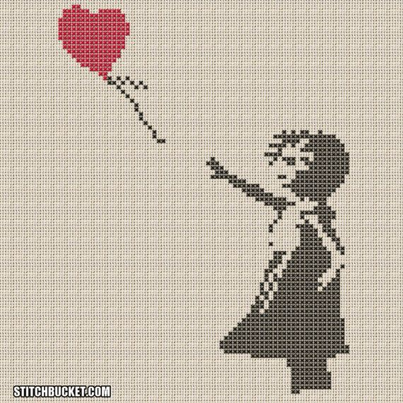 Banksy Cross Stitch Pattern Girl With Balloon
