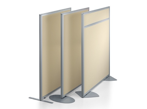 freestanding partitions w/ glass & fabric