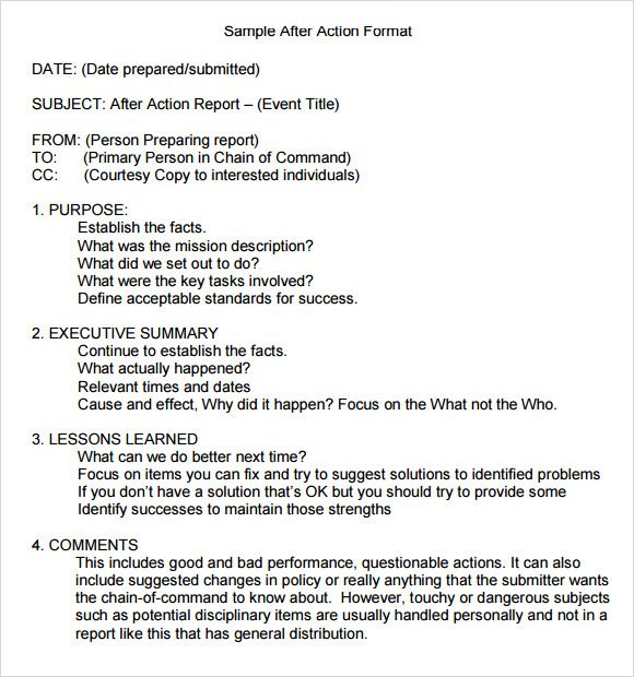After Action Report Report Template Templates Diary Prompts