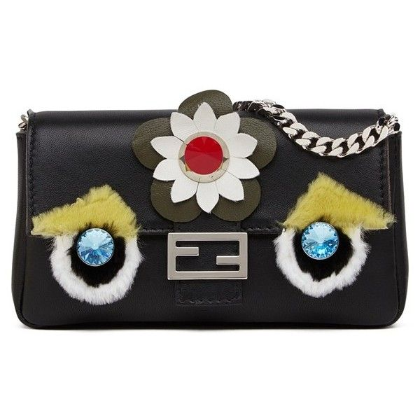 Fendi 'Monster' Leather & Genuine Rabbit Fur Micro Baguette (20.436.740 IDR) ❤ liked on Polyvore featuring bags, handbags, clutches, black, flower purse, leather purse, leather flower purse, fendi purses and studded purse