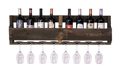 Wine Racks   DAKODA LOVE The Olivia Wine Rack USA Handmade Reclaimed Wood  Wall Mounted 8 Bottle 8 Long Stem Glass Holder Dark Walnut ** Find Out More  About ...