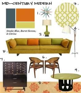 Mid-Century Modern Decorating Colors. Kind of the color scheme you're going for.