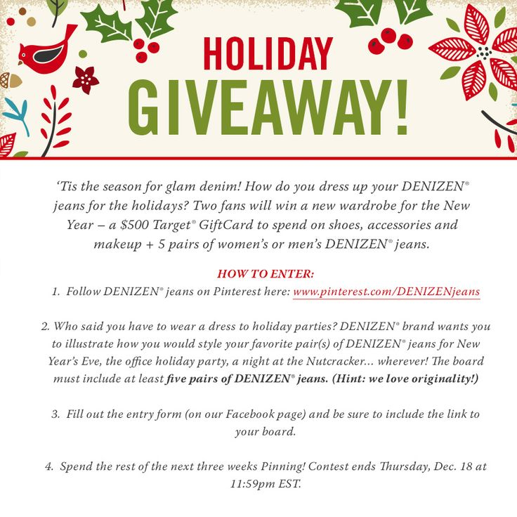 Show us how you dress up your denim for the holidays on Pinterest and you could win a new wardrobe for the New Year! Visit our FB page for details: http://on.fb.me/1t0ae3C