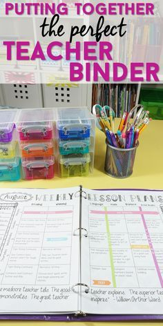 I love my teacher binder! Improve your classroom organization and come read how I put together the perfect teacher planner. Lesson Plan templates, calendars, class forms, and more!