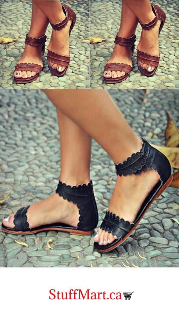 open toe flats canada