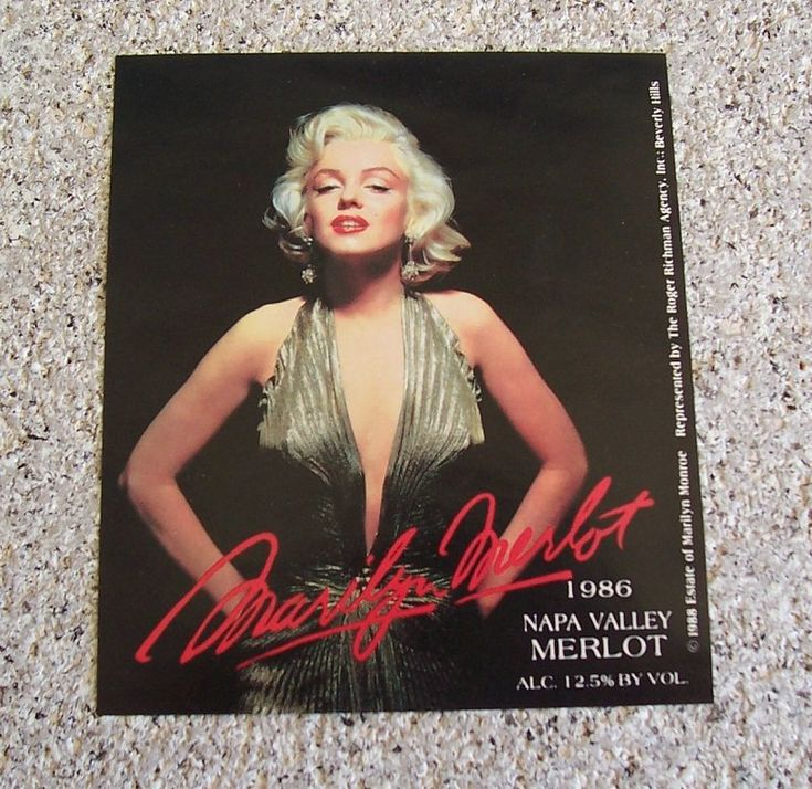 1986 unused wine label from a bottle of Marilyn Merlot Napa Valley wine. Features Marilyn Monroe photo from the movie Gentleman Prefer Blondes.