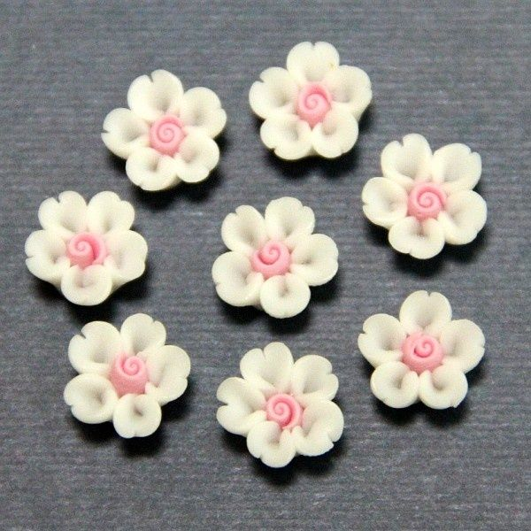 1pc-Volume heart cherry-Koshiro-Polymer Clay DIY Flowers for Earring Pendant Ring 8mm. $0.20, via Etsy.: