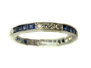 Antique Wedding Rings Sapphire Diamond Band