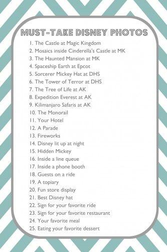 Must Take Disney Photos - printable list