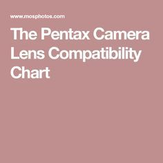 The Pentax Camera Lens Compatibility Chart