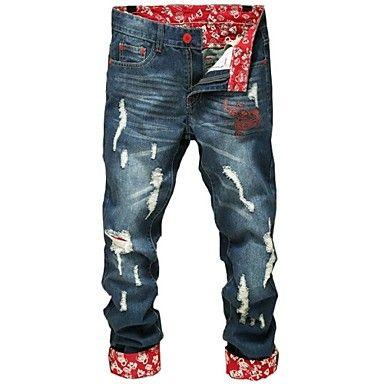 calças de brim da forma dos homens de impressão - BRL