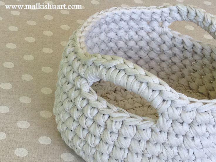 Crochet round basket  Made of T-Shirt yarn-Trapillo