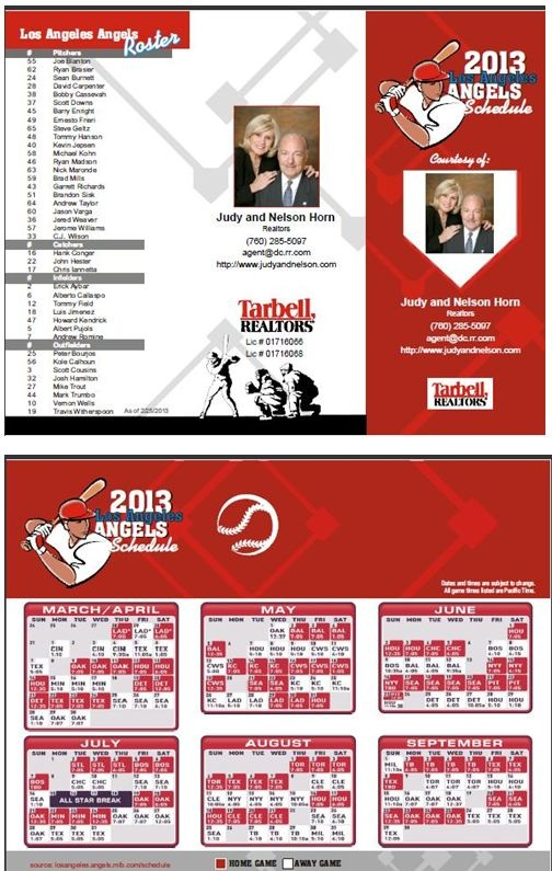 ANGELS 2013 Schedule Print out and you have a tri-fold brochure from Judy and Nelson Horn, Palm Springs, CA  Realtors. www.JudyAndNelson.com    #Angels #baseball #CA #PalmSprings #JudyAndNelsonHorn