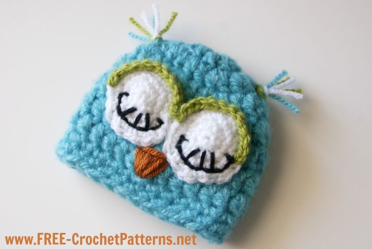 Free Crochet Owl Hat Pattern For Baby : @Emily Mavroudis - SUPER CUTE, right!! Free-Crochet OWL ...